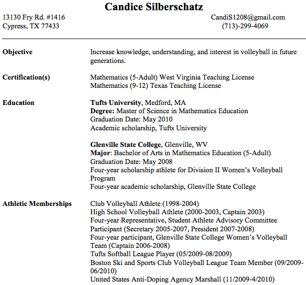 coaching resume examples